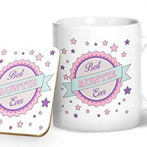 Best Auntie Ever Mug And Matching Coaster Set – Printed Mug & Coaster Gift Set