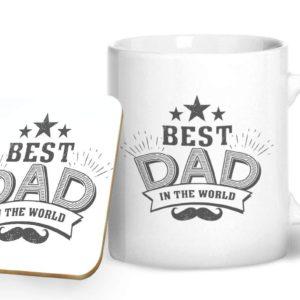 Best Dad in The World – Printed Mug & Coaster Gift Set