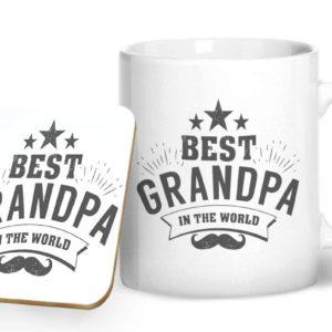 Best Grandpa in The World – Printed Mug & Coaster Gift Set