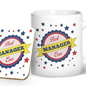 Best Manager Ever Blue – Printed Mug & Coaster Gift Set