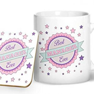 Best Manager Ever Pink Mug And Matching Coaster Set – Printed Mug & Coaster Gift Set