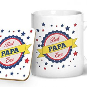 Best Papa Ever Mug And Matching Coaster Set – Printed Mug & Coaster Gift Set