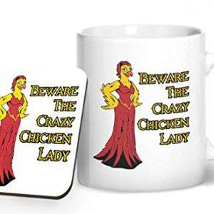 Beware The Crazy Chicken Lady – Printed Mug & Coaster Gift Set