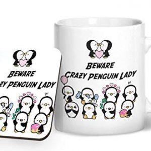 Beware The Crazy Penguin Lady – Printed Mug & Coaster Gift Set
