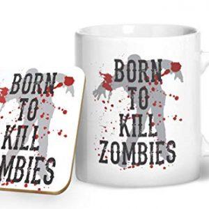 Born to Kill Zombies – Gaming Mug – Printed Mug & Coaster Gift Set
