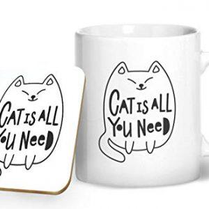 Cat is All You Need – Printed Mug & Coaster Gift Set