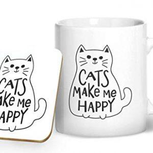Cats Make Me Happy – Printed Mug & Coaster Gift Set