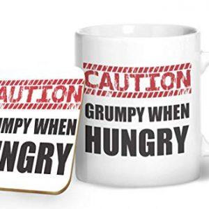 Caution Grumpy When Hungry – Printed Mug & Coaster Gift Set