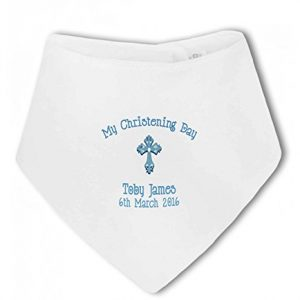 Christening Bib with Cross and personalised boys name blue – Baby Bandana Bib