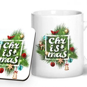 Christmas Fern Design 1 – Printed Mug & Coaster Gift Set