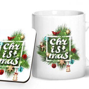 Christmas Fern Design 1 – Printed Mug & Coaster Gift Set
