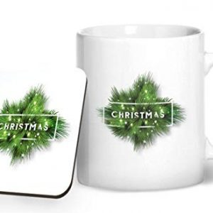 Christmas Fern Design 3 – Printed Mug & Coaster Gift Set