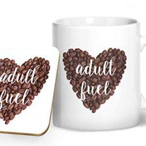 Coffee – Adult Fuel – Printed Mug & Coaster Gift Set