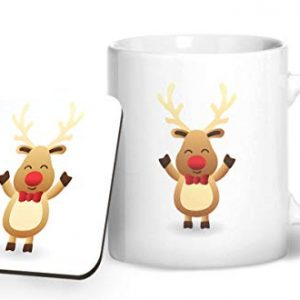 Cute Reindeer Christmas Stocking Filler – Printed Mug & Coaster Gift Set