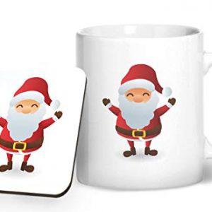 Cute Santa Claus Christmas Stocking Filler – Printed Mug & Coaster Gift Set