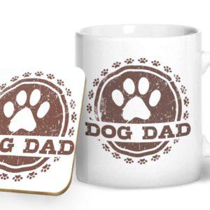 Dog Dad – Printed Mug & Coaster Gift Set