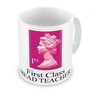 First Class HEAD TEACHER Coffee / Tea Mug – Pink Postage Stamp Design