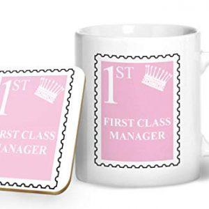 First Class Manager Mug And Matching Coaster Set – Pink – Printed Mug & Coaster Gift Set