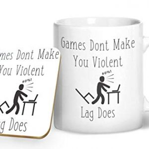 Games Don't Make You Violent, Lag Does – Gaming Mug – Printed Mug & Coaster Gift Set