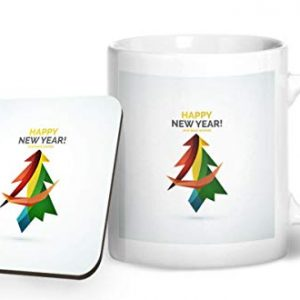 Happy New Year Christmas Tree Design 1 – Printed Mug & Coaster Gift Set