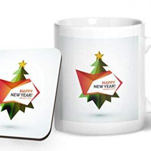 Happy New Year Christmas Tree Design 2 – Printed Mug & Coaster Gift Set