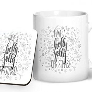 Have a Holly Jolly Christmas Design 1 – Printed Mug & Coaster Gift Set