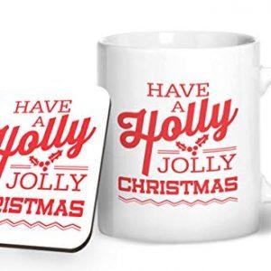 Have a Holly Jolly Christmas Design 2 – Printed Mug & Coaster Gift Set