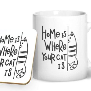 Home is Where Your Cat is – Printed Mug & Coaster Gift Set