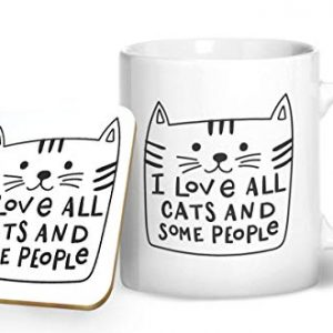 I Love All Cats and Some People – Printed Mug & Coaster Set