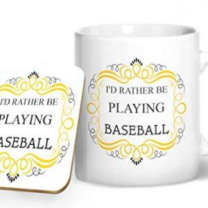 I'd Rather Be Playing Baseball – Printed Mug & Coaster Gift Set