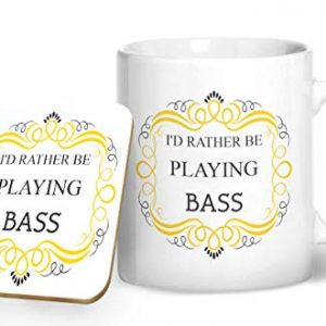 I'd Rather Be Playing Bass – Printed Mug & Coaster Gift Set