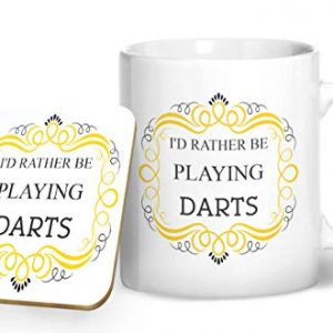 I'd Rather Be Playing Darts – Printed Mug & Coaster Gift Set