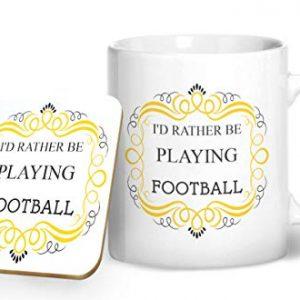 I'd Rather Be Playing Football – Printed Mug & Coaster Gift Set