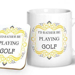 I'd Rather Be Playing Golf – Printed Mug & Coaster Gift Set