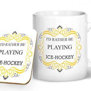 I'd Rather Be Playing Ice-Hockey – Printed Mug & Coaster Gift Set