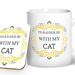 I'd Rather Be With My Cat Mug And Matching Coaster Set – Printed Mug & Coaster Gift Set