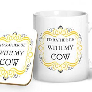 I'd Rather Be With My Cow Mug And Matching Coaster Set – Printed Mug & Coaster Gift Set