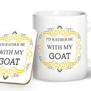 I'd Rather Be With My Goat Mug And Matching Coaster Set – Printed Mug & Coaster Gift Set
