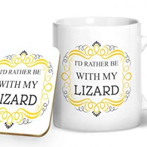 I'd Rather Be With My Lizard Mug And Matching Coaster Set – Printed Mug & Coaster Gift Set