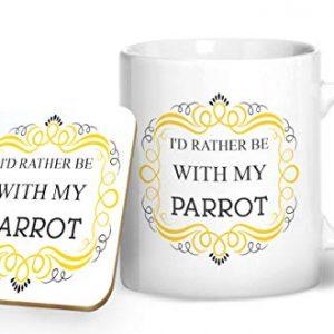 I'd Rather Be With My Parrot Mug And Matching Coaster Set – Printed Mug & Coaster Gift Set