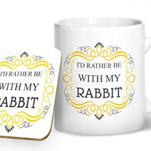 I'd Rather Be With My Rabbit Mug And Matching Coaster Set – Printed Mug & Coaster Gift Set