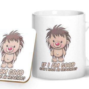 If I am Good Can I Have a Hedgehog? – Printed Mug & Coaster Gift Set