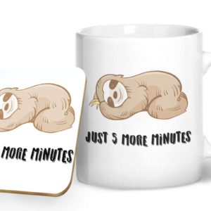 Just 5 More Minutes – Printed Mug & Coaster Gift Set