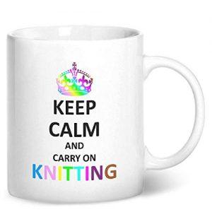 Keep Calm And Carry On Knitting – Printed Mug