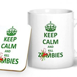 Keep Calm And Kill Zombies Mug And Matching Coaster Set – Printed Mug & Coaster Gift Set