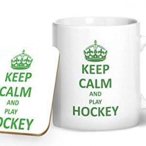 Keep Calm And Play Hockey Mug And Matching Coaster Set – Printed Mug & Coaster Gift Set