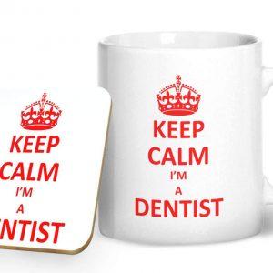 Keep Calm I'm A Dentist Mug And Matching Coaster Set – Printed Mug & Coaster Gift Set