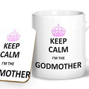 Keep Calm I'm The God Mother Mug And Matching Coaster Set – Printed Mug & Coaster Gift Set