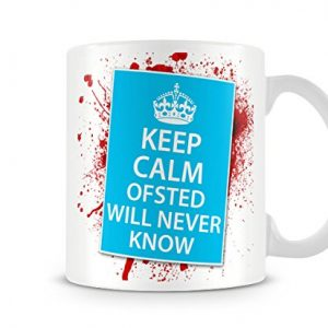 Keep Calm Ofsted Will Never Know Novelty Blood Splatter mug for Teachers