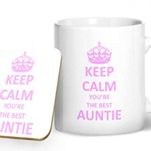 Keep Calm You're The Best Auntie – Printed Mug & Coaster Gift Set